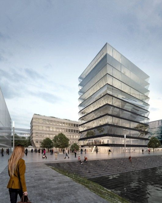 Mvrdv selected to design hafenspitze office towers in for Design hotel quartier 65 mainz