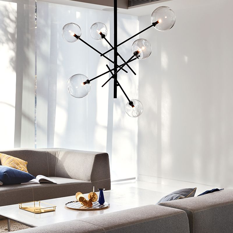 Aksel 6 Light Pendant In Black/clear