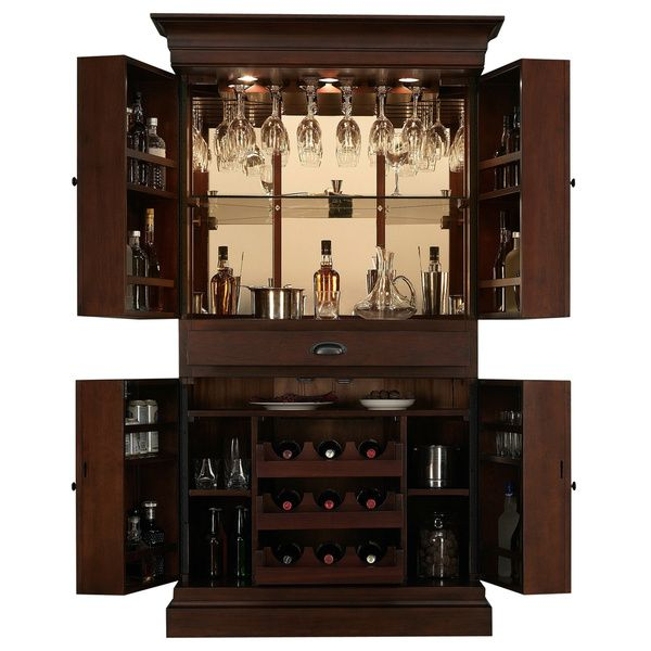 Arianna Brown Stain Home Bar Wine Cabinet Overstock Shopping Big Discounts On Bars Decor