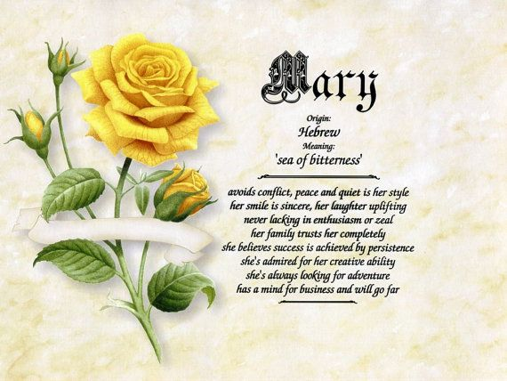 Yellow Rose Personalized Name Meaning Print by RGCGIFTS on ...