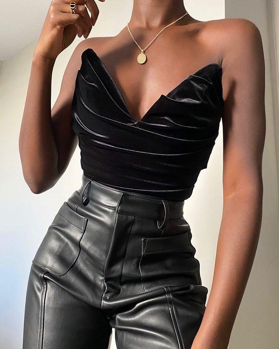 3 356 Likes 17 Comments House Of Cb Houseofcb On Instagram Velvet Vegan Leather With The New Marina Top And In 2020 Corset Fashion Fashion Black Girl Fashion