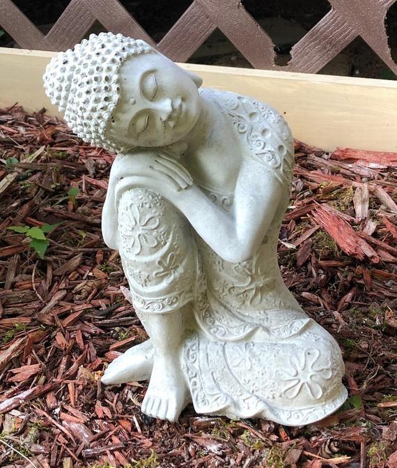 Cement Buddha, Concrete Statue, Buddha Statue, Zen Statue, Zen Garden Decor, Spiritual Decor 9'' Tal #buddhadecor