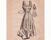 Vintage 1940s Sewing Pattern - Square Neck Sundress with Cuffed Top & Flutter Sleeve Bolero Jacket - Anne Adams Mail Order 4939, Bust 32
