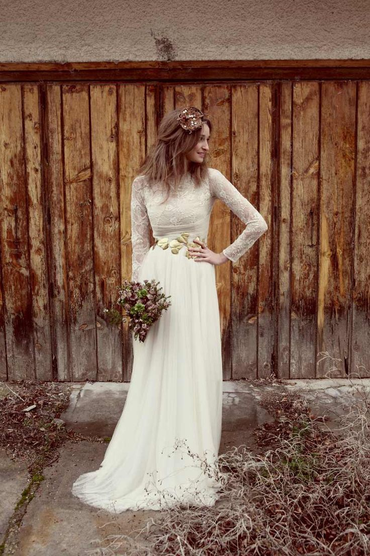 Boho longsleeved lace wedding dress here comes the bride