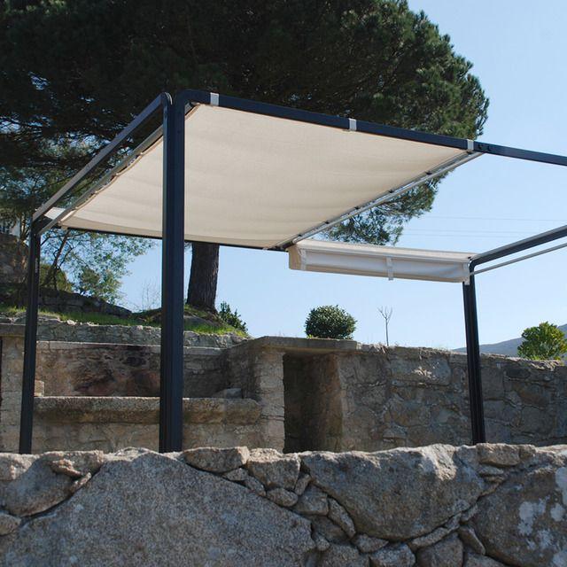 P rgola para jard n con estructura de aluminio y toldo for Estructuras de jardin