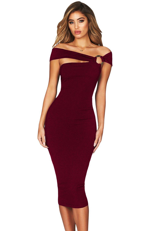 Robe Mi Longue Moulante Bordeaux Elegante Pas Cher Www Modebuy Com Modebuy Modebuy Bordeaux Occasion Elegant Midi Dresses Midi Dress Bodycon Bodycon Dress