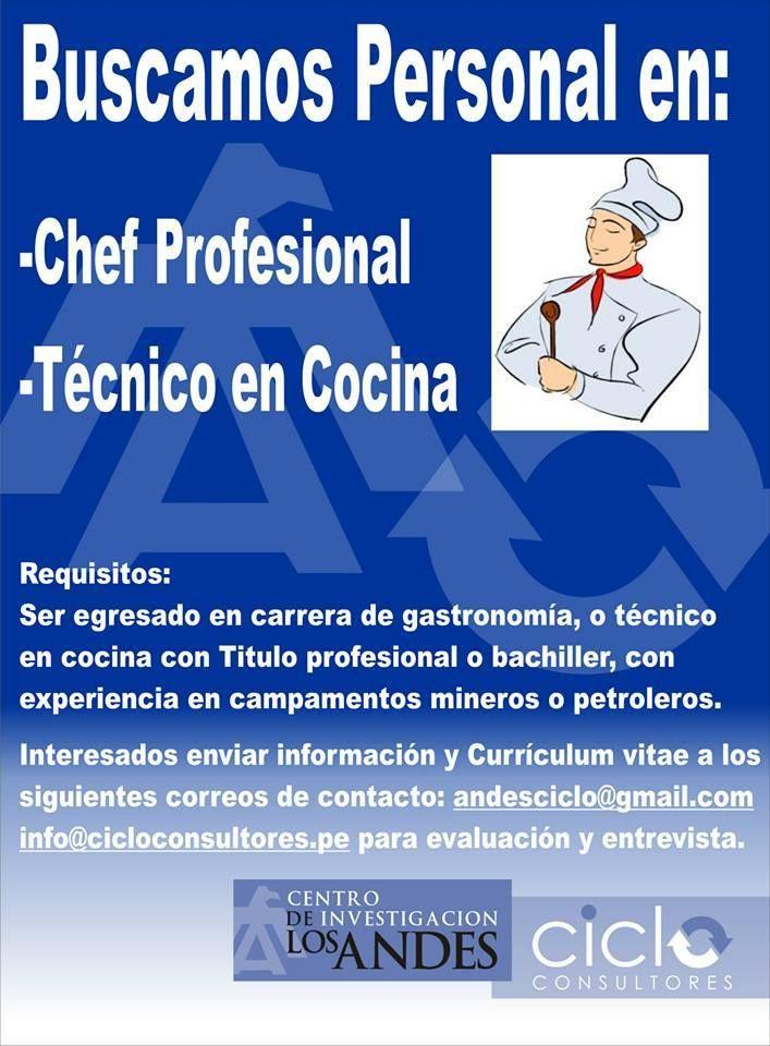 BUSCAMOS CHEFS Y TÉCNICOS EN COCINA
