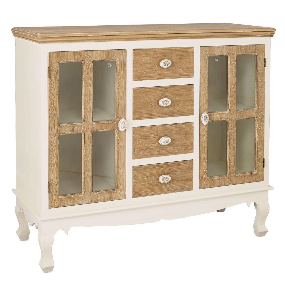 4 Drawer Glass Door Sideboard Storage White Wooden Living Room