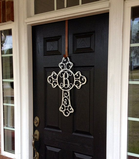 Cross Metal Monogram Door Hanger Front Door Wreaths Initial Door Wreaths By Housesensations Metal Monogram Door Hanger Monogram Door Hanger Door Wreaths Diy