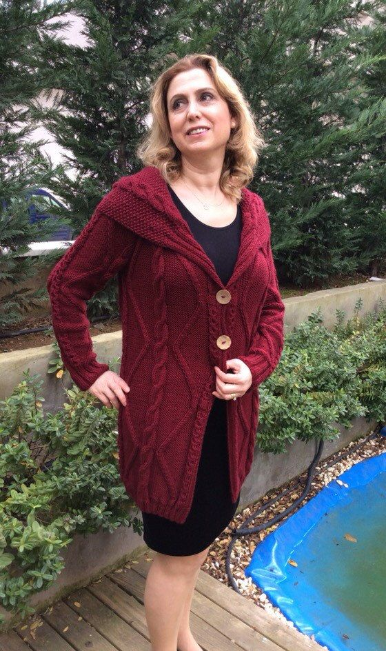 Hand knitted Burgundy Red Boyfriend Coat Cardigan by Istanbulknit