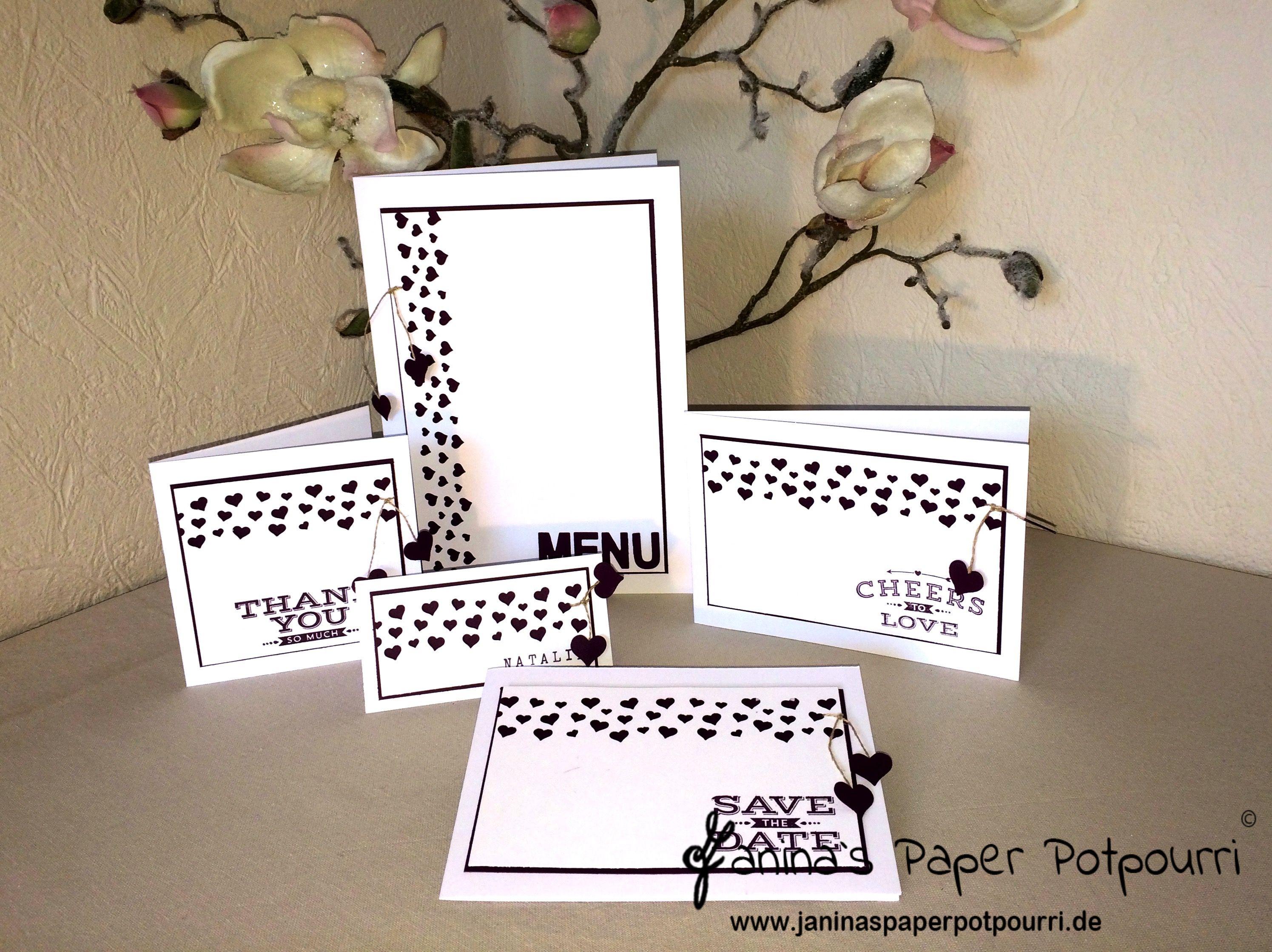 Herzkonfetti hochzeit papeterie wedding stationary menu tischkarte einladung save the date danke stampin up herzkonfetti stanze cheers to