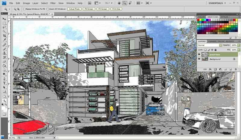 Fotosketcher And Photoshop To Watercolor Effect Render Sketchup