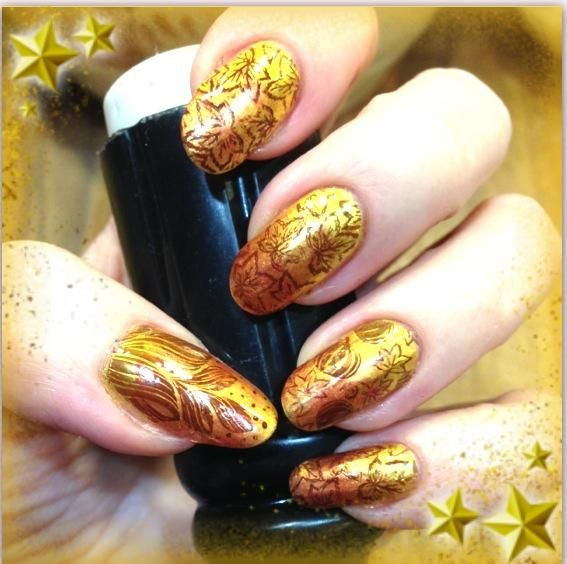 Fall Nail Stamping Manicure (on gel) #Fall Manicure #Fall Mani #Leave manicure #fall colors #Nail Stamping #Nail Stamping Manicure #leaf nail image #pumpkins #nail stamp #BM #Bundle Monster