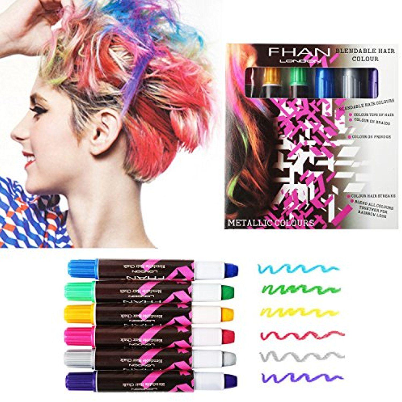 6 PCS Hair Chalks, Temporary Non-Toxic Portable Hair Coloring Chalk ...