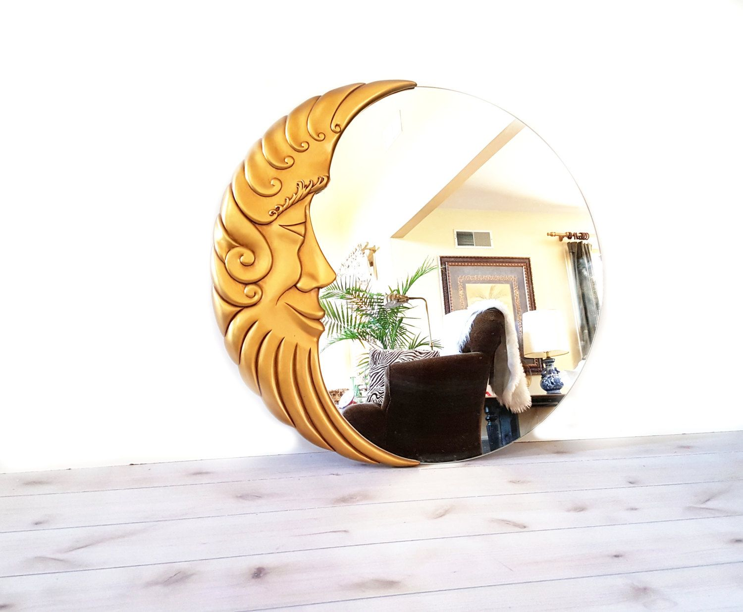Vintage Moon Mirror Large Gold Half Face Round Wall Signed Ruby