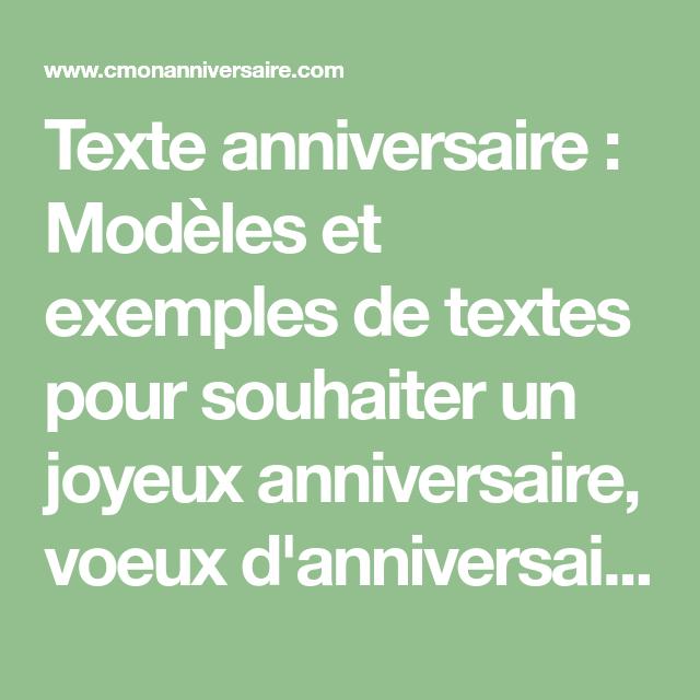 Texte Anniversaire Modèles Et Exemples De Textes Pour