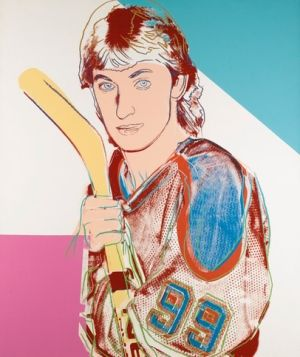 """In 1983 in """"a rare confluence of sport and art,"""" hockey hero Wayne Gretzky was depicted by pop artist Andy Warhol in 6 different portraits. You should read the accompanying article because I don't know anything about this stuff. (There's also a 3 minute audio clip of interviews with both Gretzky and Warhol.) • CBC News: Oct 13, 2013"""