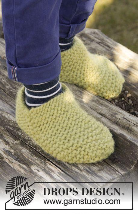 Gestrickte Drops Hausschuhe In Eskimo Mit Krausrippen Größe 20 37