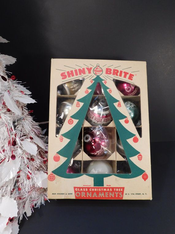 black friday sale vintage shiny brite glass christmas tree ball ornaments holiday decor