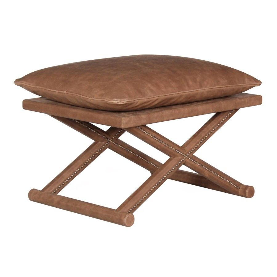 Leather X Stool Antique Brown Seating Selamat Stool Furniture Selamat Designs
