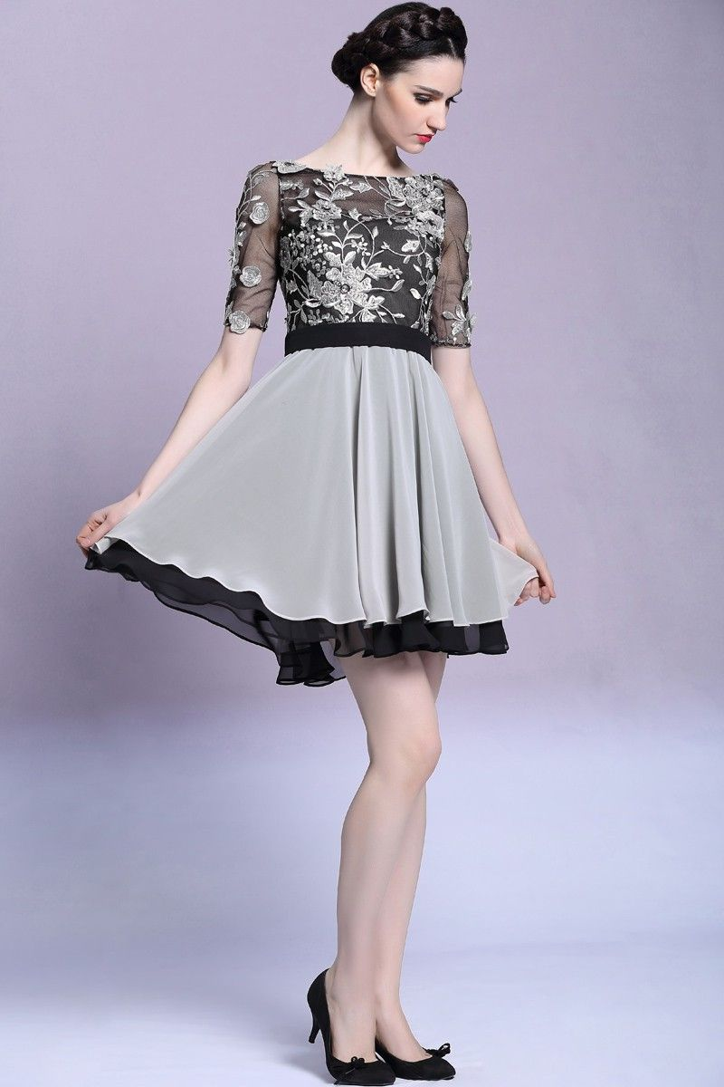 d3ef9638ef7 Short mini silver black embroidered homecoming party dress