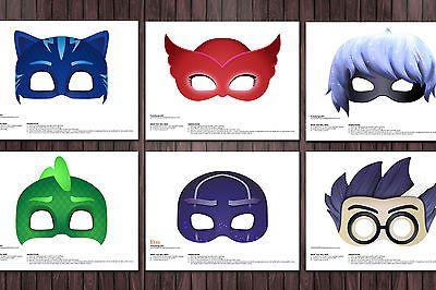 6 PJ Masks Printable DIY Mask Favor Ninja Luna Girl Romeo Catboy Gecko Owlette