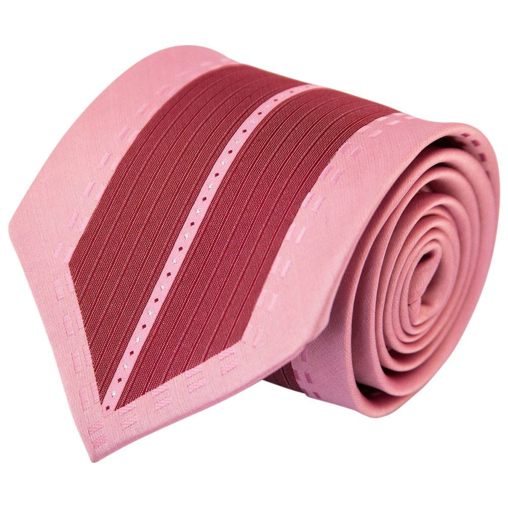 Burgundy with Pink Dash Border (Traditional Tie)