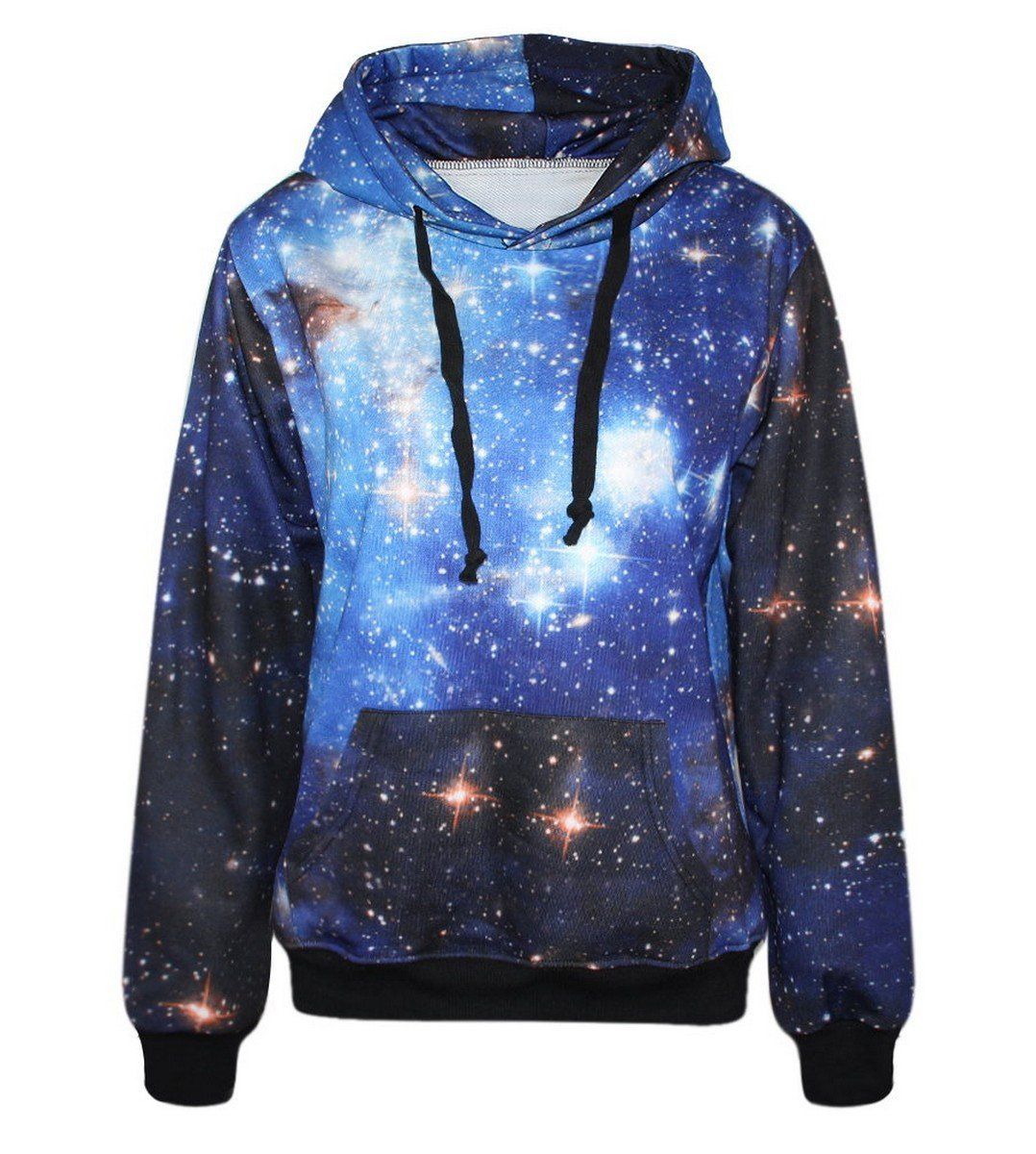 Lovelife  Blue Galaxy Print Pocket Long Sleeve Jacket Hoodies Sweatshirt   Amazon.co.uk  Clothing 10be64a21454b