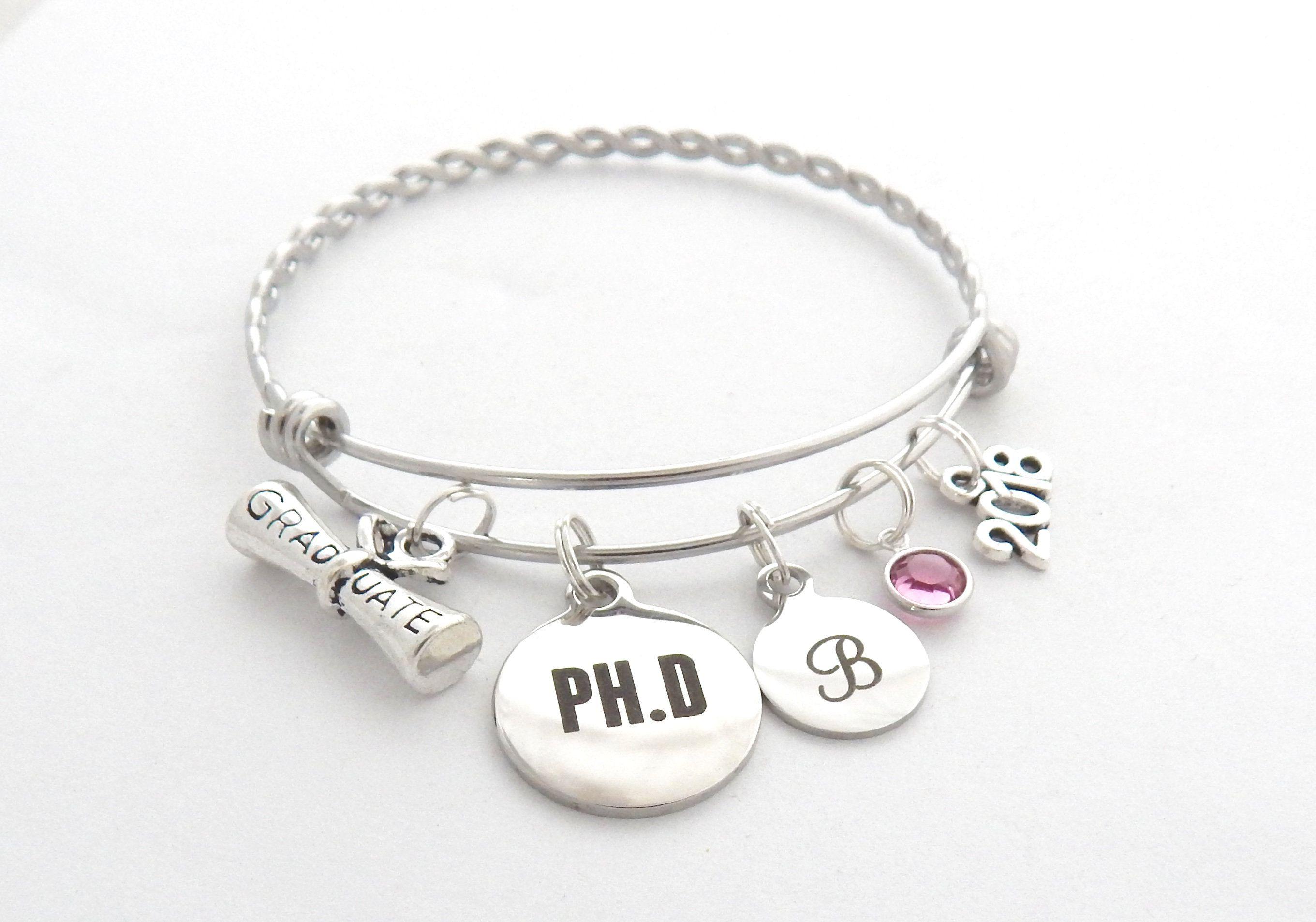 23f99ad8f PhD Gift, PhD Graduation Bracelet, PhD Jewelry, PhD Science Biology  Chemistry College Graduation, Doctor of Philosophy, University Graduate