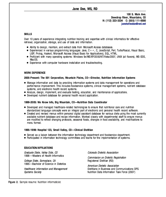 Clinical Dietitian Informaticist Resume Example