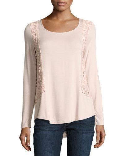 Crochet-Trim Long-Sleeve Top