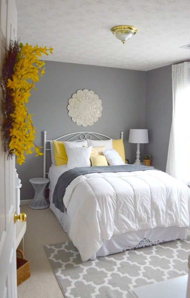 Guest bedroom gray white and yellow guest bedroom for Bedroom decorating ideas with grey walls