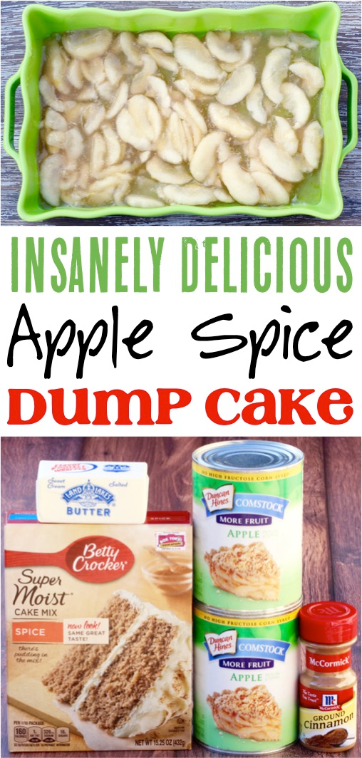 Apple Dump Cake!  This easy dessert recipe is so delicious and only takes 4 simple ingredients! #easydesserts