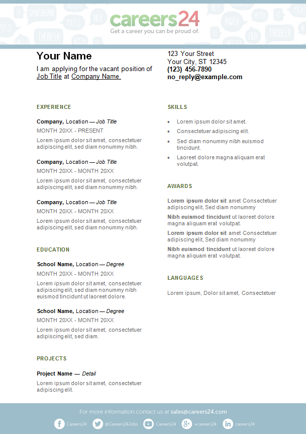 1 page cv template south africa.
