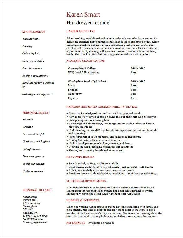 Hair Stylist Resume Template - 8+ Free Samples, Examples, Format