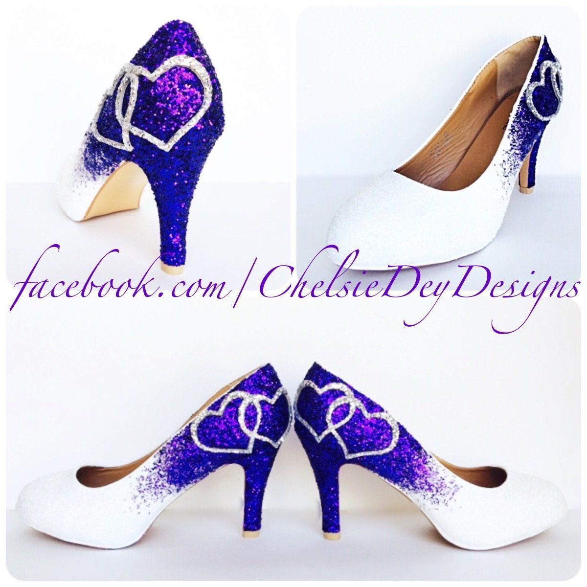 Purple glitter high heels white wedding shoes with silver hearts