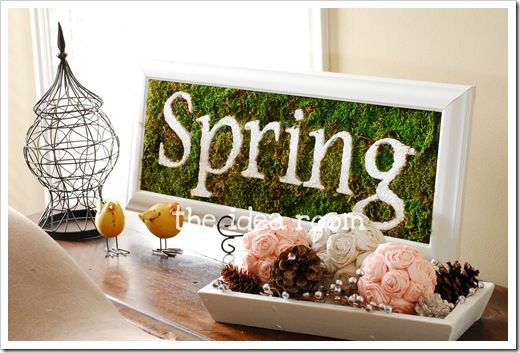 Cute spring sign using more moss:)