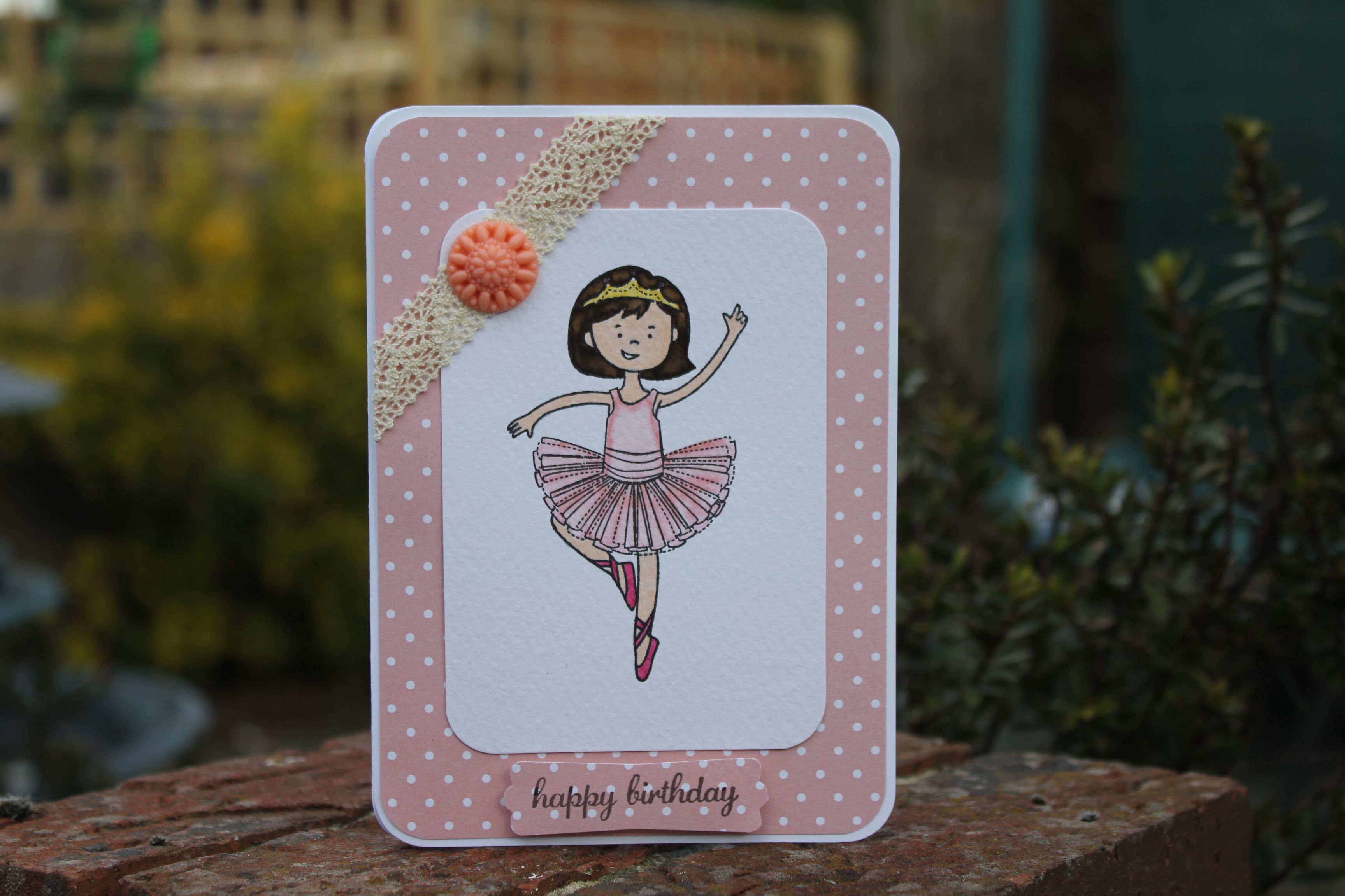 Little ballet girl from Stampin Up. Coloured with SU markers. Everything on card from SU.