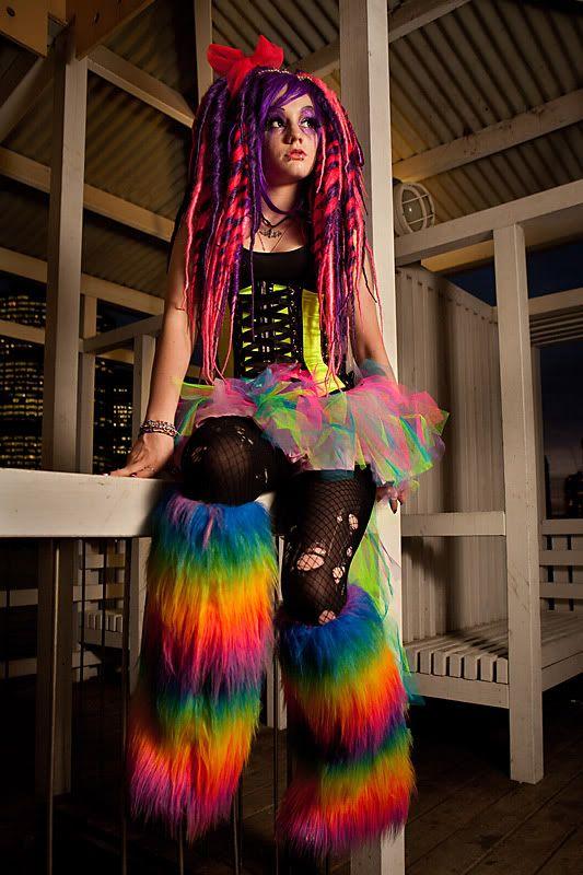 NEON RAINBOW! UV Fluffy Boots Leg Warmers Rave Cyber