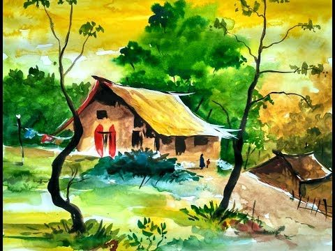 Simple Water Color Landscape For Beginners By Ghanashyam Youtube