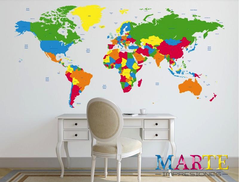 ¡Murales mapamundi! Los vinilos mapa mundi y sus diseños de la geografía mundial te transportarán a un viaje de ensueño, explorando aquellos rincones a los que siempre has soñado viajar, o los que ya has estado y te gustaría repetir o recordar experiencias. #marteimpresiones #murales #vinilosdecorativos #mapamundi #imprenta #Alpedrete