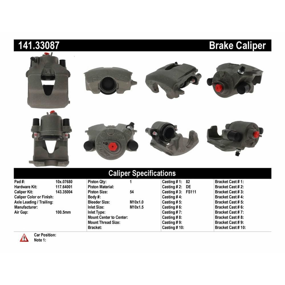 Centric Parts 141.33087 Semi-Loaded Caliper
