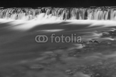River waterfall in black and white