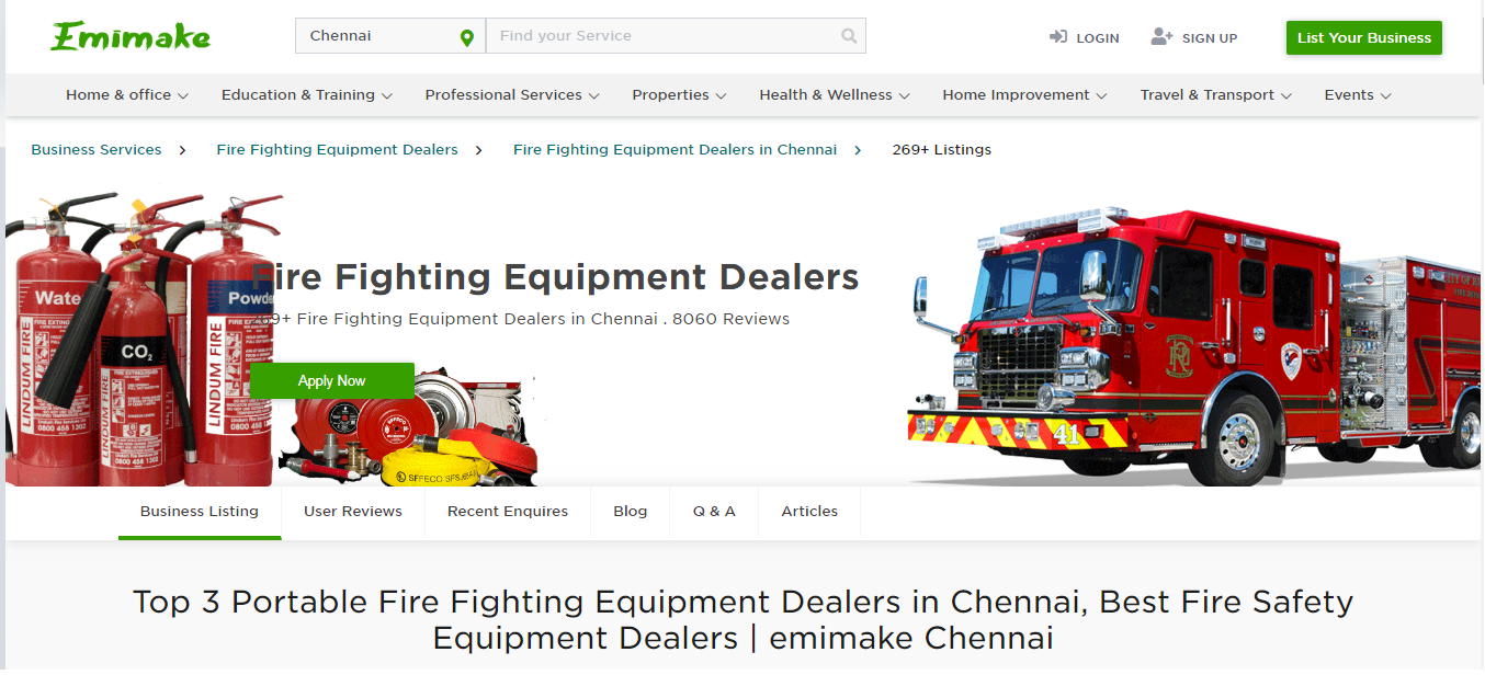 Top 3 Portable Fire Fighting Equipment Dealers in Chennai