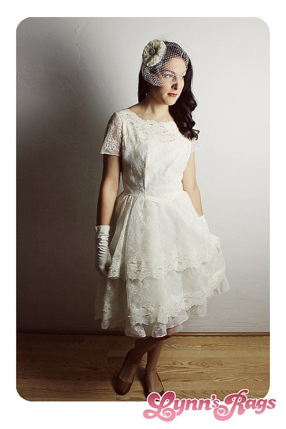 Vintage Wedding Dress Costume Short 50s Gown Lace Tutu