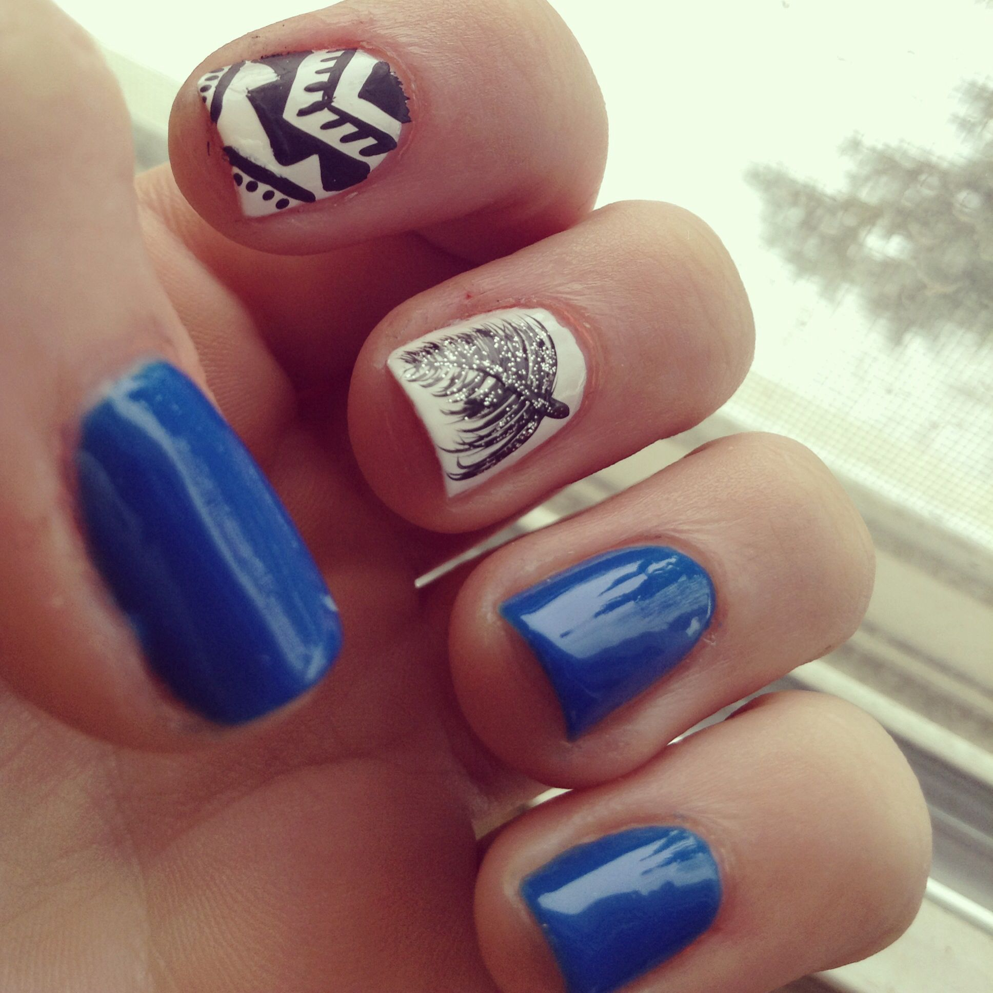 Feather, Tribal, Bright Blue, Nails, Naildesigns