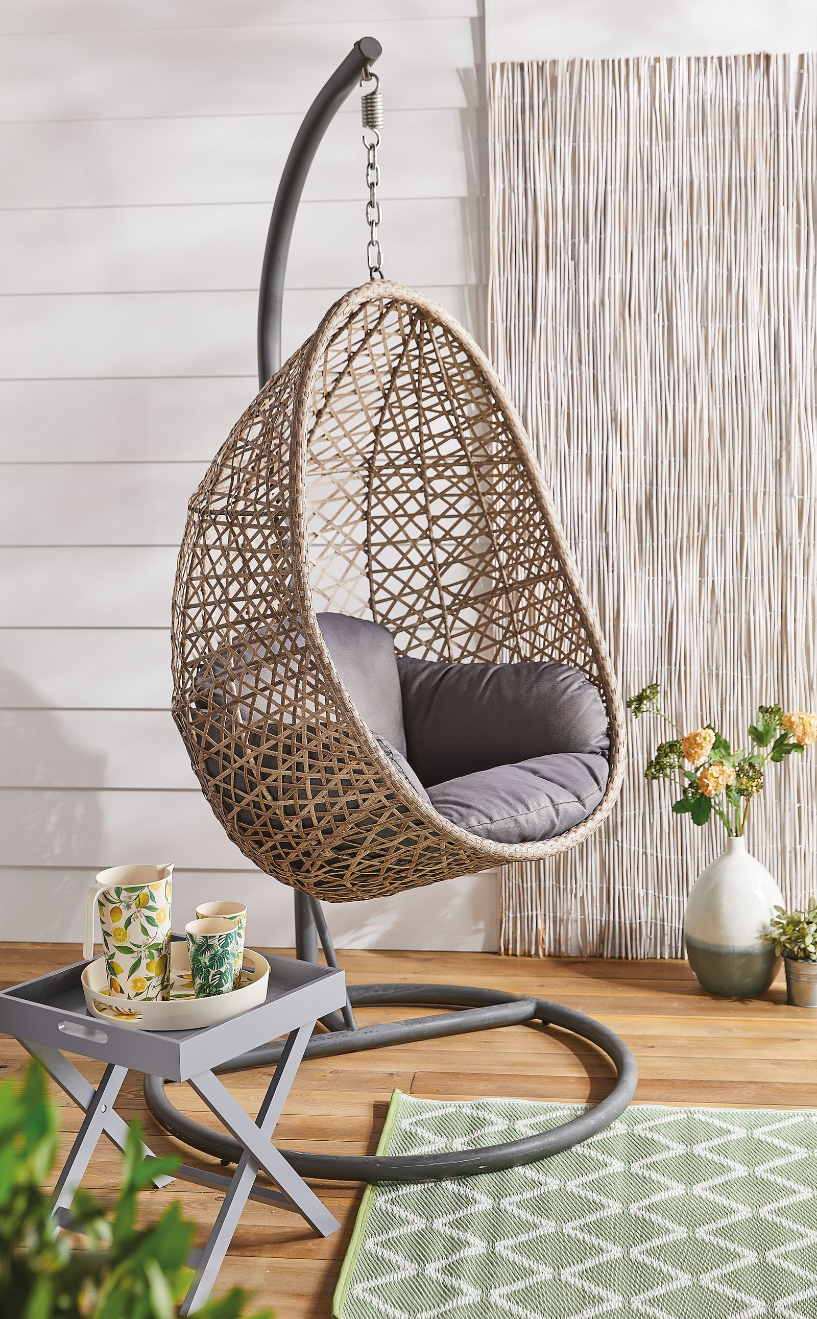 The New Aldi Garden Furniture Range Is Here And There S A Wooden Bench With A Built In Table For 70 Hanging Egg Chair Hanging Garden Chair Decor