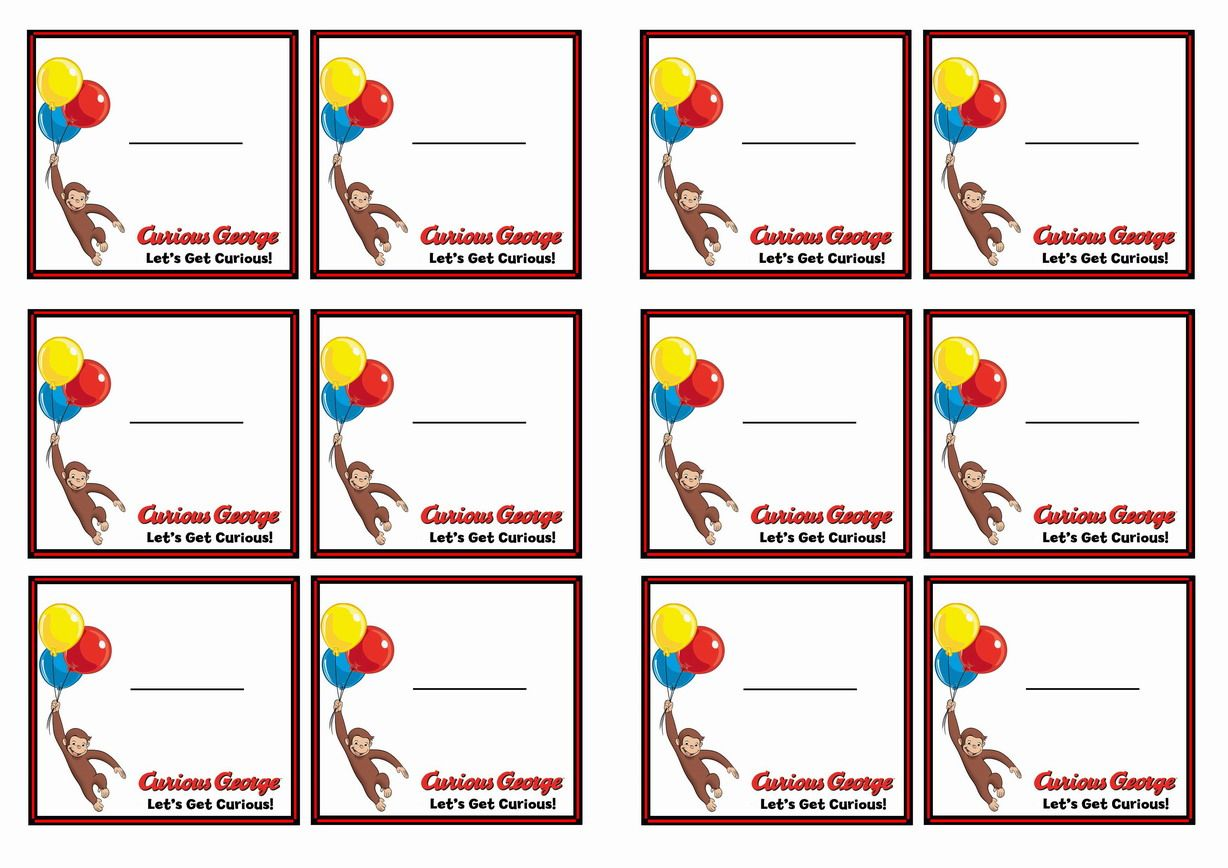 Free Printable Curious George Themed Name Tags