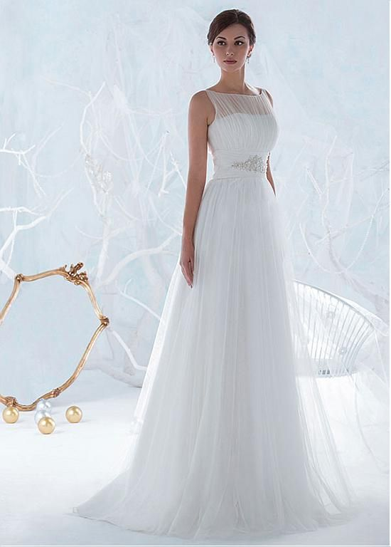 comprar Impresionante Tulle Bateau escote A-línea de vestidos de ...
