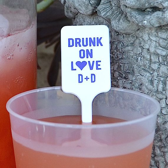 Personalized Drunk on Love Plastic Cocktail by GraciousBridal.  We have a number of shapes and colors to choose from so you can easily design the perfect look for any occasion.